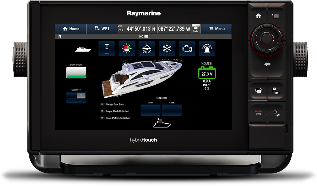 Figure 2 Digitally switched systems use logically presented soft switches, indicators and rich graphics to communicate vessel status | Raymarine - A Brand by FLIR