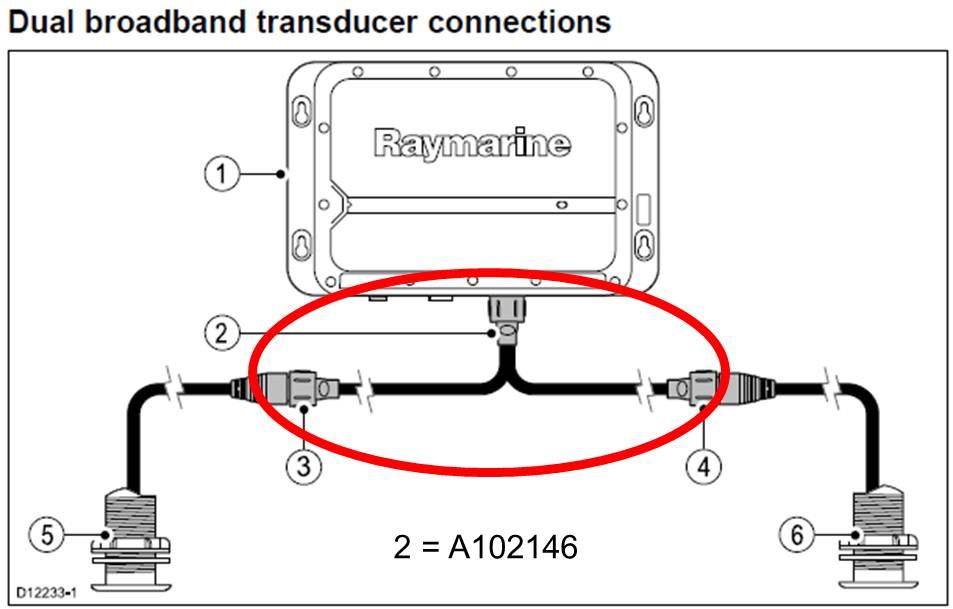 CP470 / CP570 Y-Cable for Dual Transducer connections | Raymarine