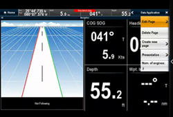 RayControl screen with menu | Raymarine