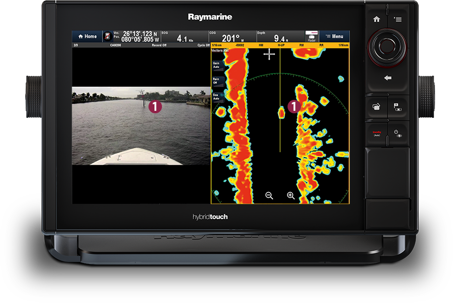 Day marker target at close range | Raymarine